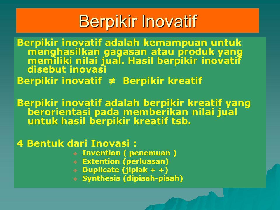 Berpikir inovatif adalah kemampuan untuk menghasilkan gagasan atau produk yang memiliki nilai jual. Hasil berpikir inovatif disebut inovasi Berpikir i