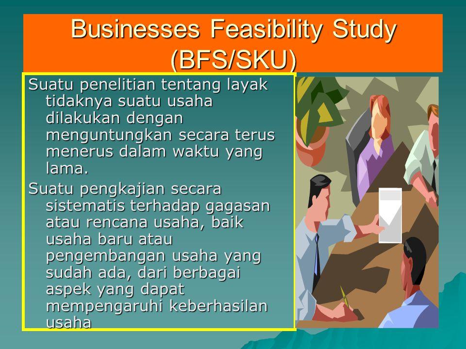 Businesses Feasibility Study (BFS/SKU) Suatu penelitian tentang layak tidaknya suatu usaha dilakukan dengan menguntungkan secara terus menerus dalam w