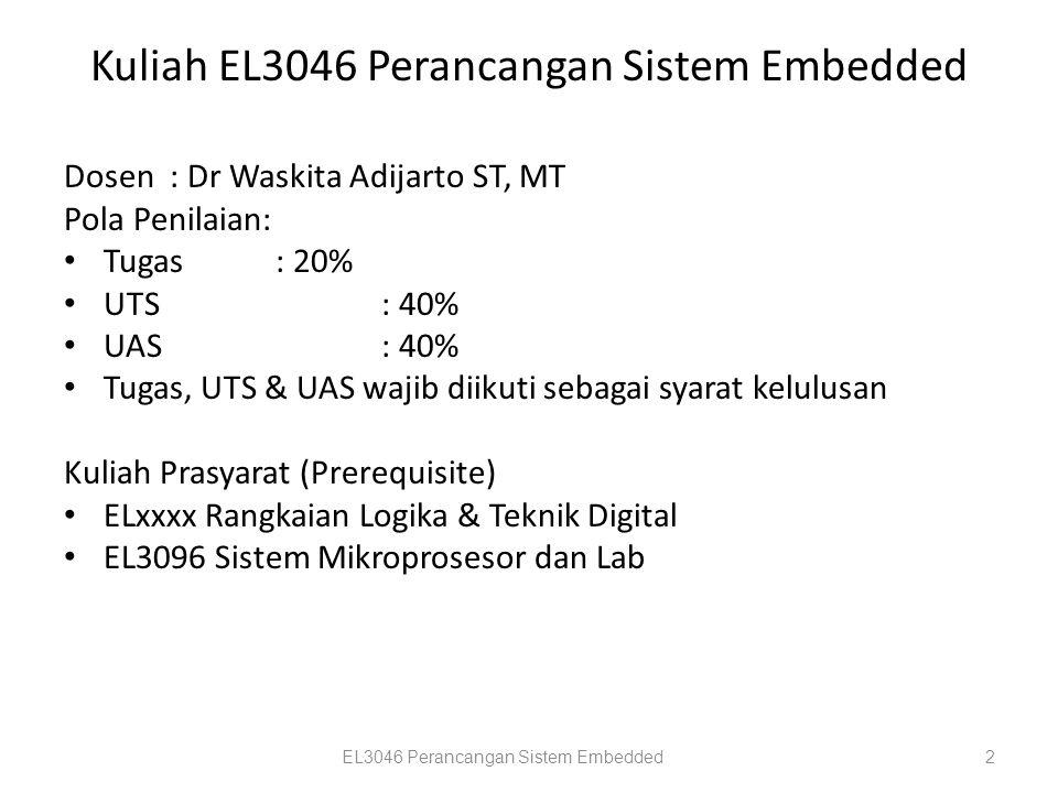 Kuliah EL3046 Perancangan Sistem Embedded Dosen: Dr Waskita Adijarto ST, MT Pola Penilaian: Tugas : 20% UTS: 40% UAS: 40% Tugas, UTS & UAS wajib diiku