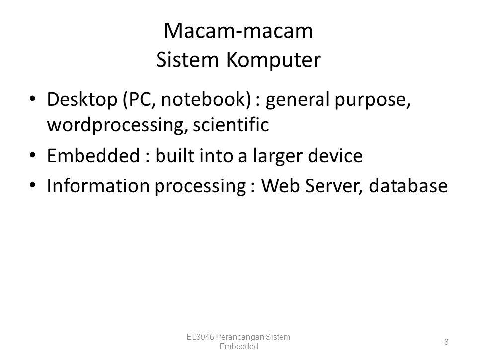 Sistem embedded vs Komputer desktop (2) EmbeddedDesktop Daya terbatas (batere, solar cell)Daya dari jala-jala Sering dioperasikan pada tempat yang alamnya kurang bersahabat: Luar angkasa, Tengah laut, Tempat dingin/panas Sering dioperasikan di tempat yang alamnya bersahabat Sumber daya terbatas : RAM, ROM, CPU Sumber daya banyak: RAM besar,ROM besar, CPU cepat Program disimpan di ROMProgram disimpan di hard disk / magnetic media EL3046 Perancangan Sistem Embedded 19