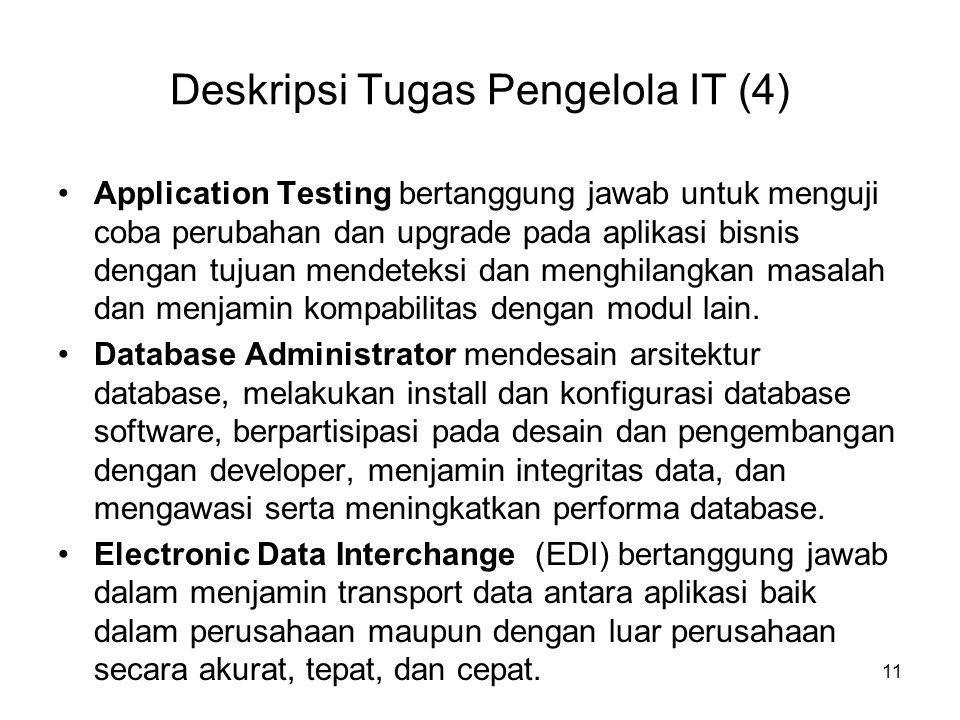 Deskripsi Tugas Pengelola IT (4) Application Testing bertanggung jawab untuk menguji coba perubahan dan upgrade pada aplikasi bisnis dengan tujuan men