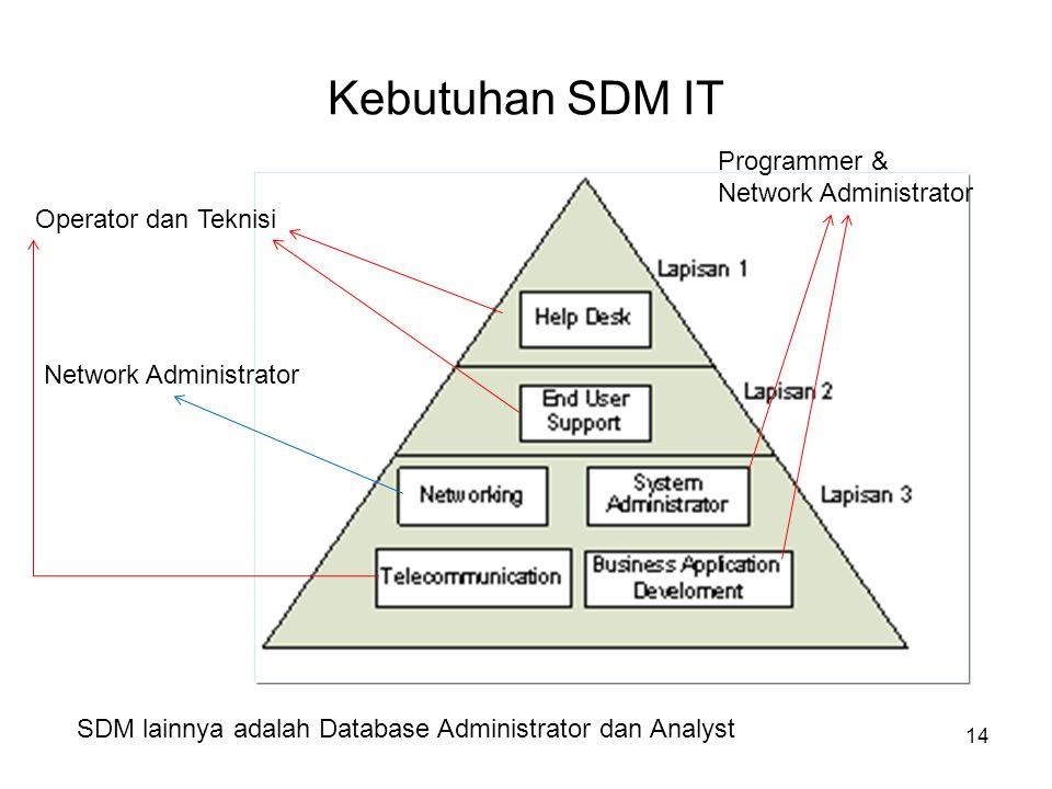 Kebutuhan SDM IT 14 Operator dan Teknisi Network Administrator Programmer & Network Administrator SDM lainnya adalah Database Administrator dan Analys