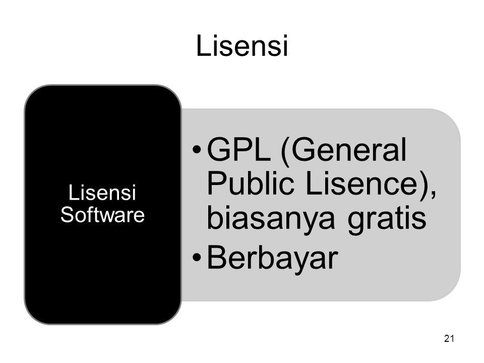 21 Lisensi GPL (General Public Lisence), biasanya gratis Berbayar Lisensi Software