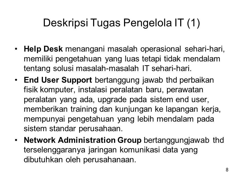 Deskripsi Tugas Pengelola IT (1) Help Desk menangani masalah operasional sehari-hari, memiliki pengetahuan yang luas tetapi tidak mendalam tentang sol