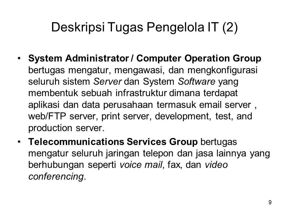 Deskripsi Tugas Pengelola IT (2) System Administrator / Computer Operation Group bertugas mengatur, mengawasi, dan mengkonfigurasi seluruh sistem Serv