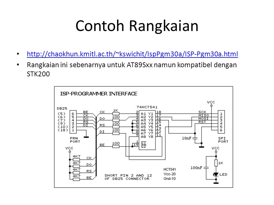 Contoh Rangkaian http://chaokhun.kmitl.ac.th/~kswichit/IspPgm30a/ISP-Pgm30a.html Rangkaian ini sebenarnya untuk AT89Sxx namun kompatibel dengan STK200