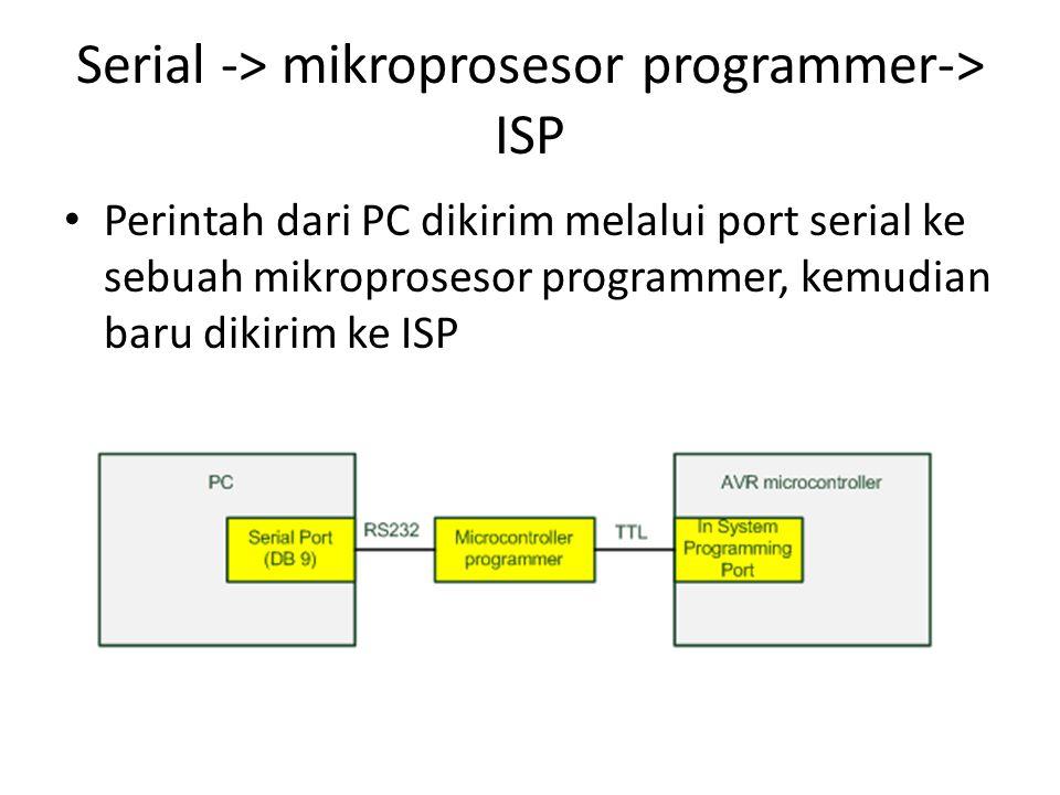 Serial -> mikroprosesor programmer-> ISP Perintah dari PC dikirim melalui port serial ke sebuah mikroprosesor programmer, kemudian baru dikirim ke ISP