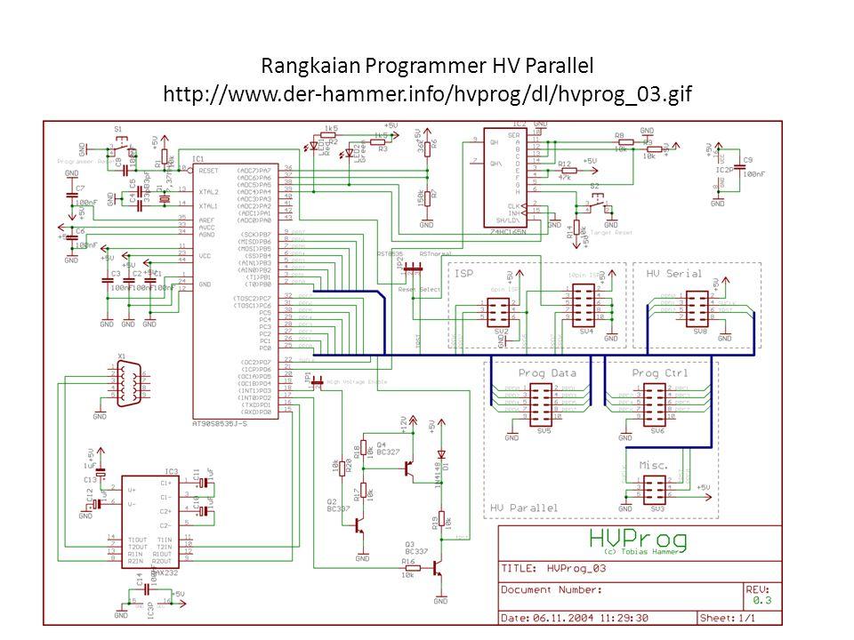Rangkaian Programmer HV Parallel http://www.der-hammer.info/hvprog/dl/hvprog_03.gif