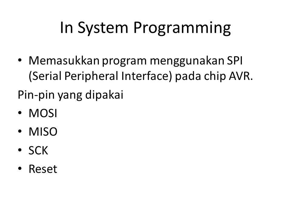 In System Programming Memasukkan program menggunakan SPI (Serial Peripheral Interface) pada chip AVR.