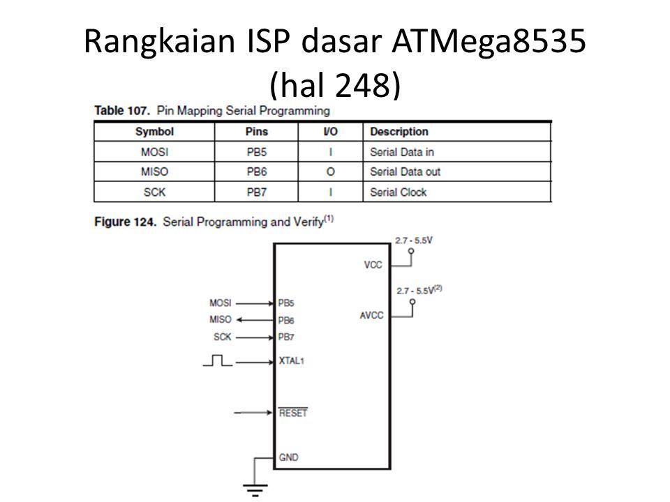 Rangkaian ISP dasar ATMega8535 (hal 248)