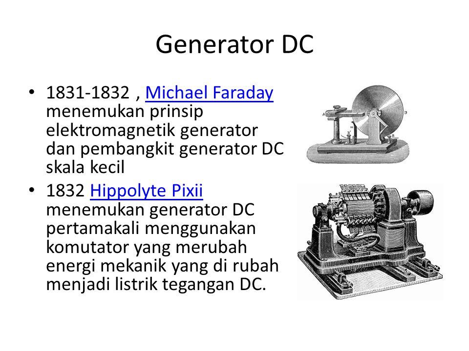 Generator DC 1831-1832, Michael Faraday menemukan prinsip elektromagnetik generator dan pembangkit generator DC skala kecilMichael Faraday 1832 Hippol