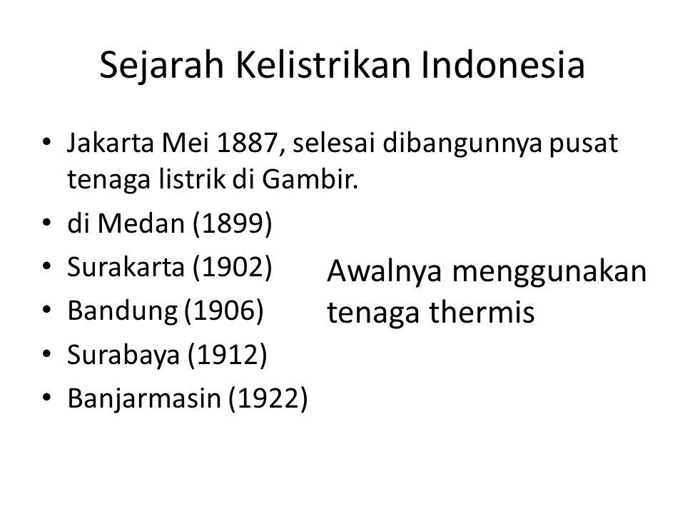 Sejarah Kelistrikan Indonesia Jakarta Mei 1887, selesai dibangunnya pusat tenaga listrik di Gambir. di Medan (1899) Surakarta (1902) Bandung (1906) Su