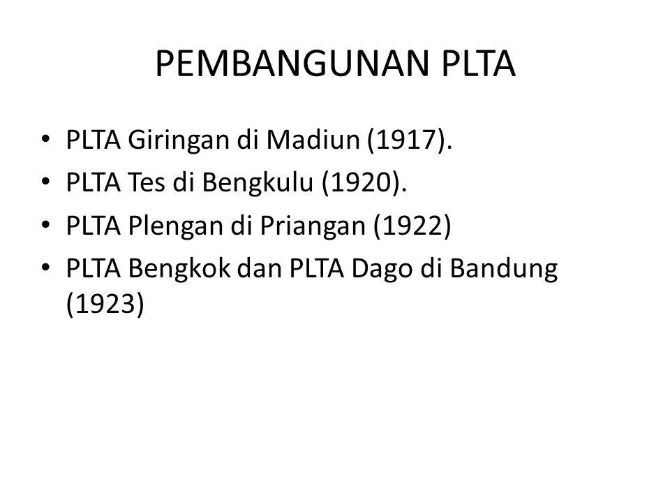 PEMBANGUNAN PLTA PLTA Giringan di Madiun (1917). PLTA Tes di Bengkulu (1920). PLTA Plengan di Priangan (1922) PLTA Bengkok dan PLTA Dago di Bandung (1