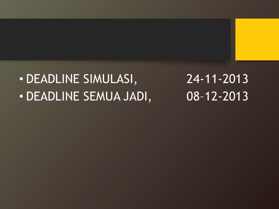 DEADLINE SIMULASI, 24-11-2013 DEADLINE SEMUA JADI, 08–12-2013