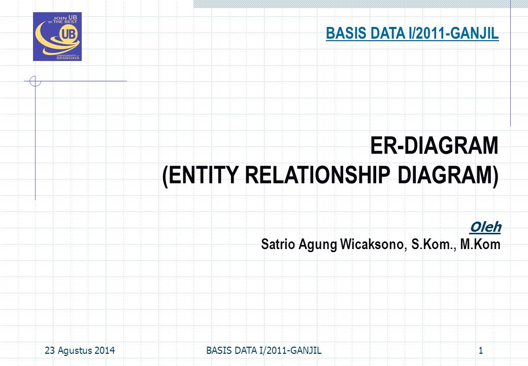 23 Agustus 2014BASIS DATA I/2011-GANJIL1 ER-DIAGRAM (ENTITY RELATIONSHIP DIAGRAM) BASIS DATA I/2011-GANJIL Oleh Satrio Agung Wicaksono, S.Kom., M.Kom