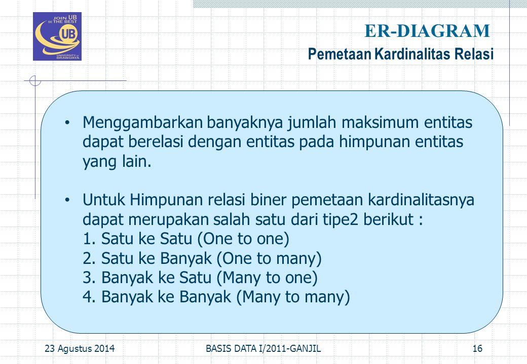 23 Agustus 2014BASIS DATA I/2011-GANJIL16 Pemetaan Kardinalitas Relasi ER-DIAGRAM Menggambarkan banyaknya jumlah maksimum entitas dapat berelasi dengan entitas pada himpunan entitas yang lain.