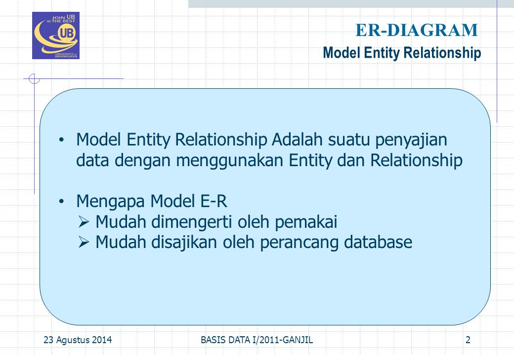 23 Agustus 2014BASIS DATA I/2011-GANJIL2 Model Entity Relationship ER-DIAGRAM Model Entity Relationship Adalah suatu penyajian data dengan menggunakan Entity dan Relationship Mengapa Model E-R  Mudah dimengerti oleh pemakai  Mudah disajikan oleh perancang database
