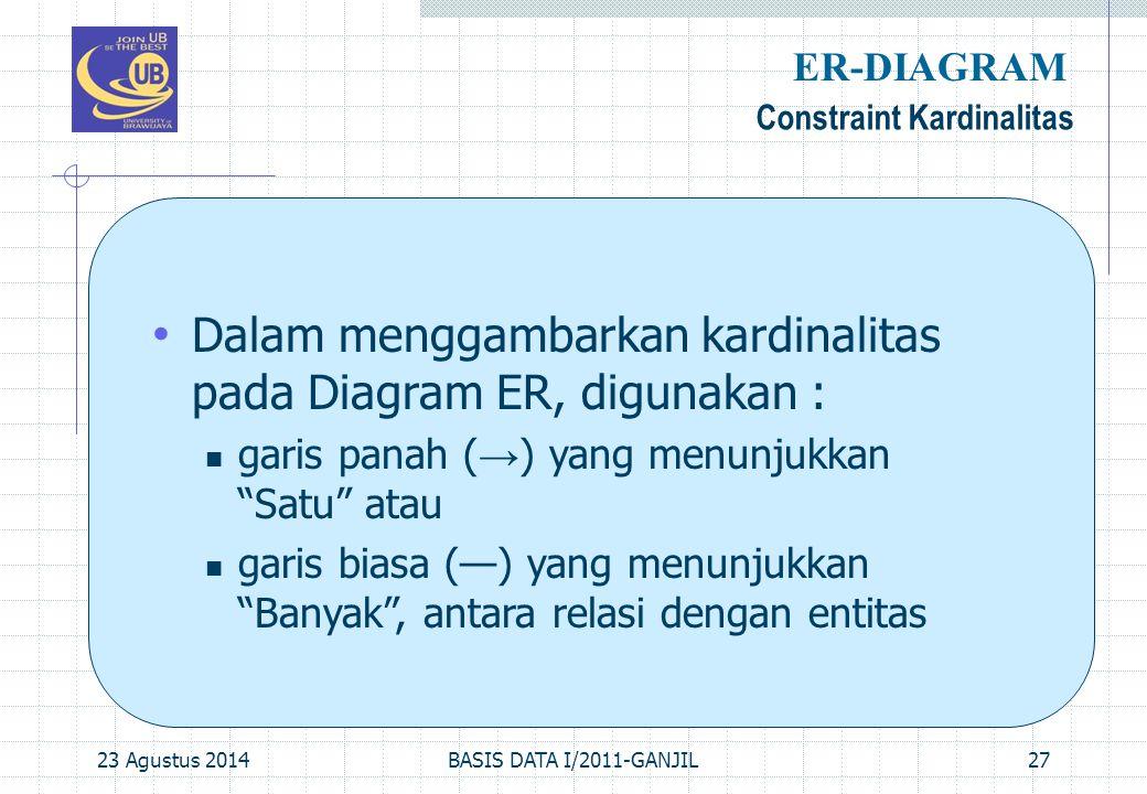 23 Agustus 2014BASIS DATA I/2011-GANJIL27 Constraint Kardinalitas ER-DIAGRAM Dalam menggambarkan kardinalitas pada Diagram ER, digunakan : garis panah ( → ) yang menunjukkan Satu atau garis biasa (—) yang menunjukkan Banyak , antara relasi dengan entitas