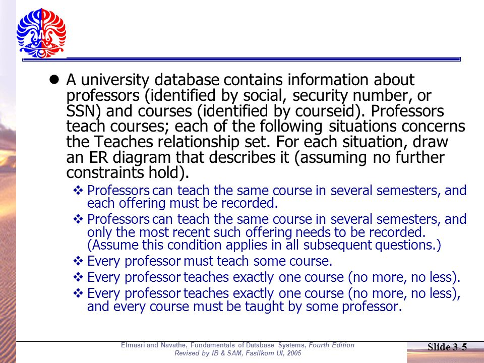 Slide 3-6 Elmasri and Navathe, Fundamentals of Database Systems, Fourth Edition Revised by IB & SAM, Fasilkom UI, 2005 Develop ER-Diagram based on following facts .