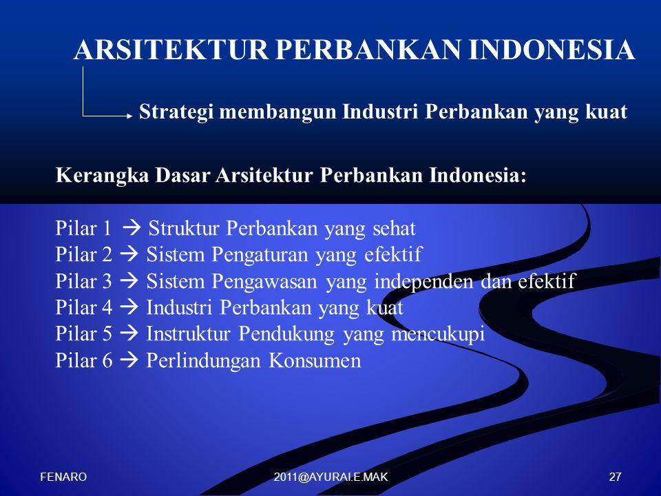 2011@AYURAI.E.MAK ARSITEKTUR PERBANKAN INDONESIA Strategi membangun Industri Perbankan yang kuat Kerangka Dasar Arsitektur Perbankan Indonesia: Pilar 1  Struktur Perbankan yang sehat Pilar 2  Sistem Pengaturan yang efektif Pilar 3  Sistem Pengawasan yang independen dan efektif Pilar 4  Industri Perbankan yang kuat Pilar 5  Instruktur Pendukung yang mencukupi Pilar 6  Perlindungan Konsumen FENARO 27