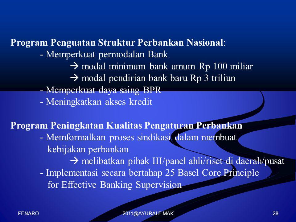 2011@AYURAI.E.MAK Program Penguatan Struktur Perbankan Nasional: - Memperkuat permodalan Bank  modal minimum bank umum Rp 100 miliar  modal pendiria