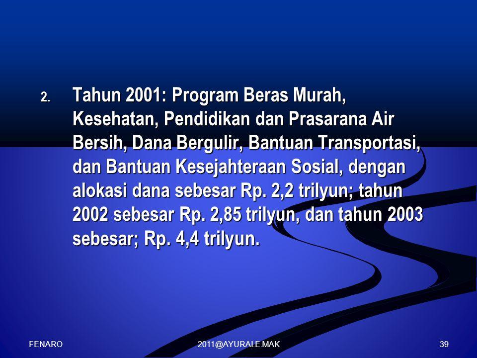 2011@AYURAI.E.MAK 2. Tahun 2001: Program Beras Murah, Kesehatan, Pendidikan dan Prasarana Air Bersih, Dana Bergulir, Bantuan Transportasi, dan Bantuan