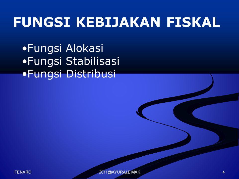 2011@AYURAI.E.MAK FUNGSI KEBIJAKAN FISKAL Fungsi Alokasi Fungsi Stabilisasi Fungsi Distribusi FENARO 4