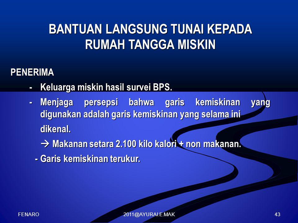 2011@AYURAI.E.MAK BANTUAN LANGSUNG TUNAI KEPADA RUMAH TANGGA MISKIN PENERIMA -Keluarga miskin hasil survei BPS. -Menjaga persepsi bahwa garis kemiskin