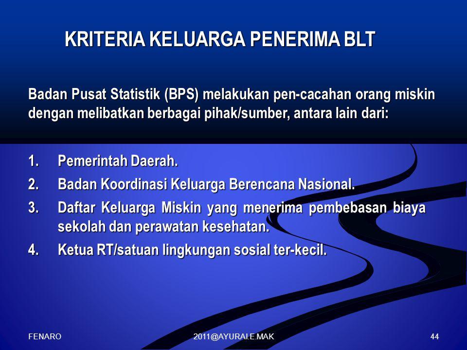 2011@AYURAI.E.MAK KRITERIA KELUARGA PENERIMA BLT Badan Pusat Statistik (BPS) melakukan pen-cacahan orang miskin dengan melibatkan berbagai pihak/sumber, antara lain dari: 1.Pemerintah Daerah.