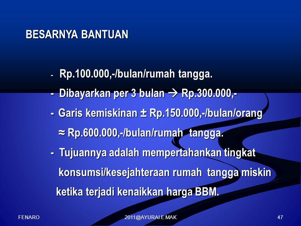 2011@AYURAI.E.MAK BESARNYA BANTUAN - Rp.100.000,-/bulan/rumah tangga. - Dibayarkan per 3 bulan  Rp.300.000,- - Garis kemiskinan ± Rp.150.000,-/bulan/