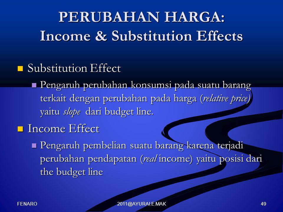 2011@AYURAI.E.MAK PERUBAHAN HARGA: Income & Substitution Effects Substitution Effect Substitution Effect Pengaruh perubahan konsumsi pada suatu barang terkait dengan perubahan pada harga (relative price) yaitu slope dari budget line.