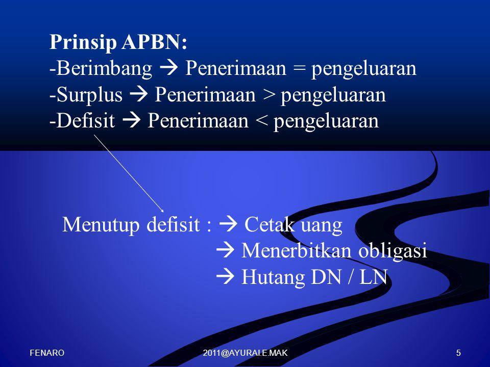 2011@AYURAI.E.MAK Prinsip APBN: -Berimbang  Penerimaan = pengeluaran -Surplus  Penerimaan > pengeluaran -Defisit  Penerimaan < pengeluaran Menutup