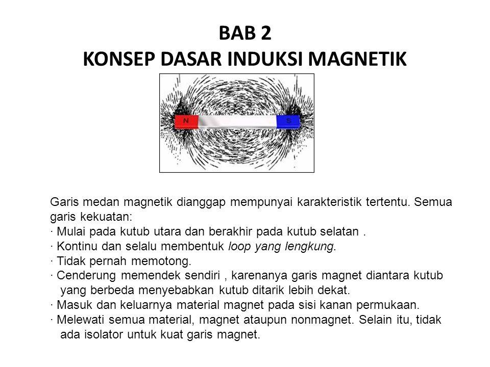 BAB 2 KONSEP DASAR INDUKSI MAGNETIK Garis medan magnetik dianggap mempunyai karakteristik tertentu. Semua garis kekuatan: · Mulai pada kutub utara dan