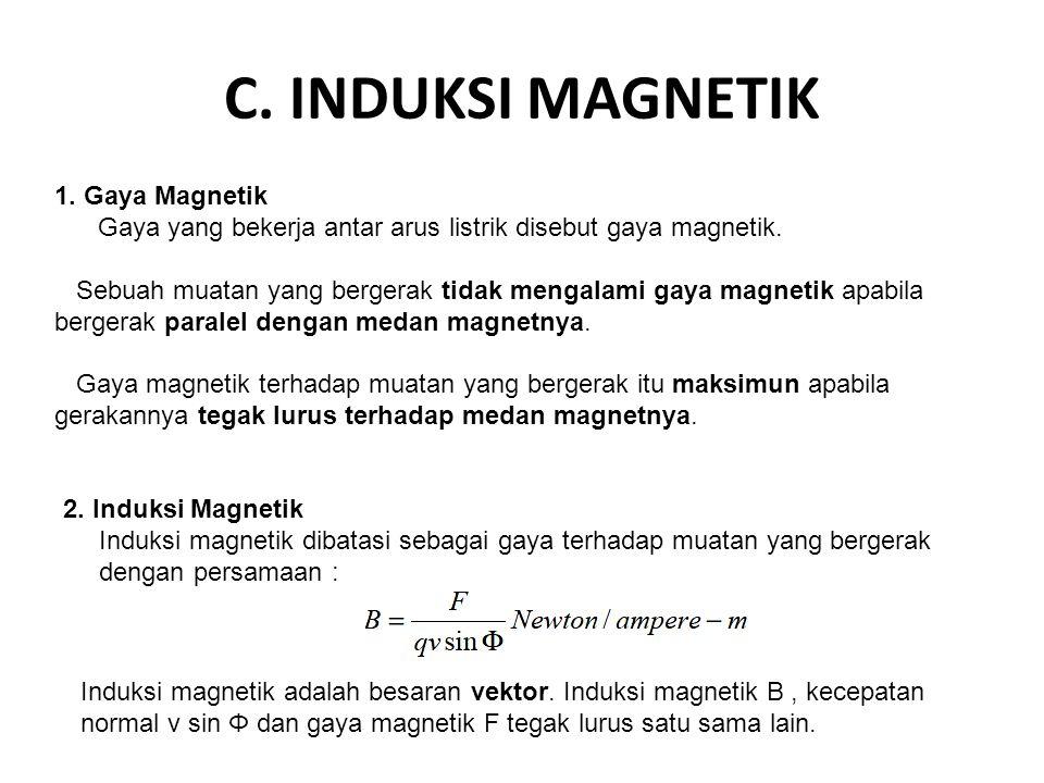 C. INDUKSI MAGNETIK 1. Gaya Magnetik Gaya yang bekerja antar arus listrik disebut gaya magnetik. Sebuah muatan yang bergerak tidak mengalami gaya magn