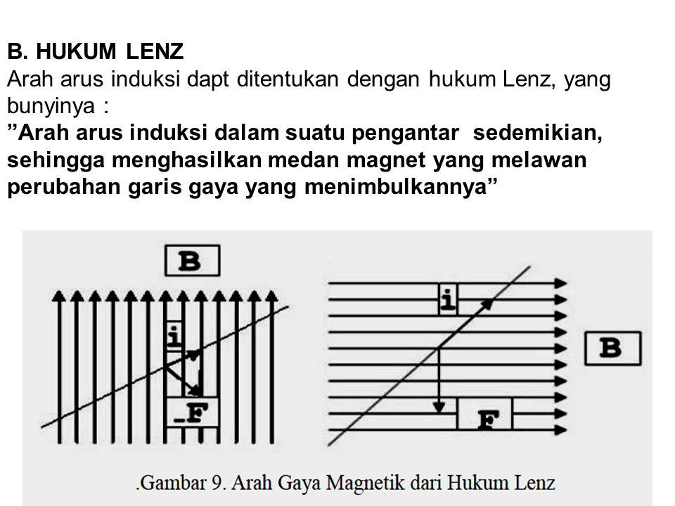 "B. HUKUM LENZ Arah arus induksi dapt ditentukan dengan hukum Lenz, yang bunyinya : ""Arah arus induksi dalam suatu pengantar sedemikian, sehingga mengh"