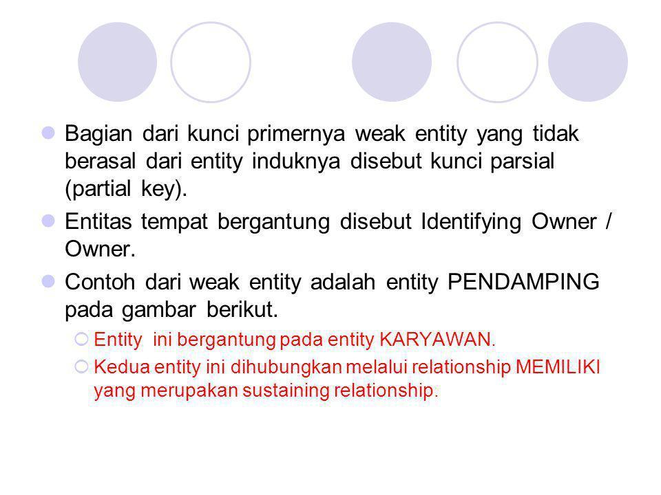 Bagian dari kunci primernya weak entity yang tidak berasal dari entity induknya disebut kunci parsial (partial key). Entitas tempat bergantung disebut
