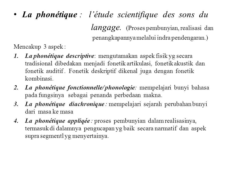La phonétique : l'étude scientifique des sons du langage.
