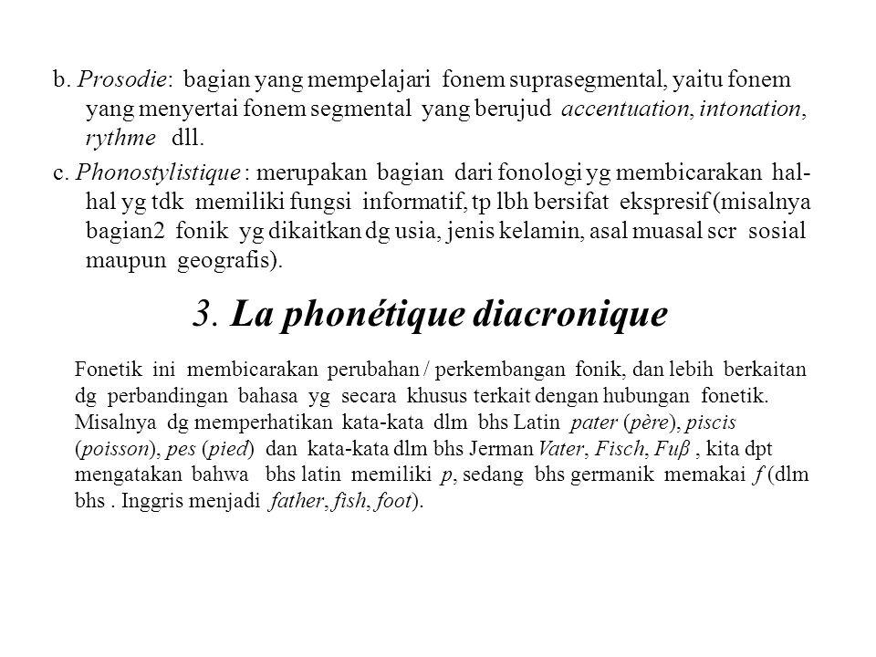 b. Prosodie: bagian yang mempelajari fonem suprasegmental, yaitu fonem yang menyertai fonem segmental yang berujud accentuation, intonation, rythme dl