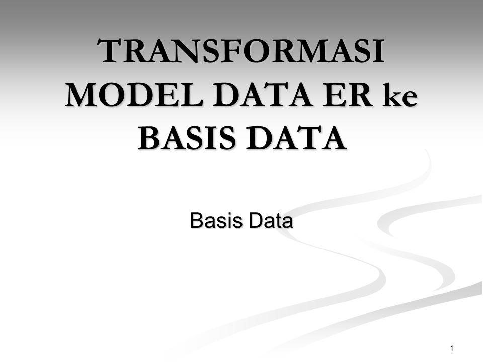 1 TRANSFORMASI MODEL DATA ER ke BASIS DATA Basis Data