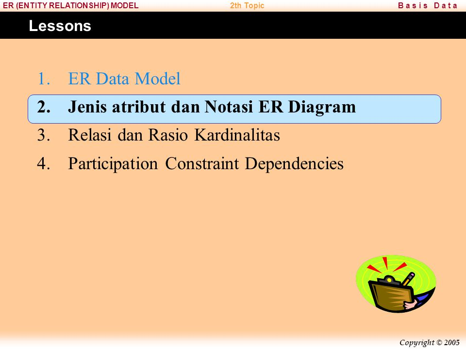 Copyright © 2005 B a s i s D a t aER (ENTITY RELATIONSHIP) MODEL2th Topic Lessons 1.ER Data Model 2.Jenis atribut dan Notasi ER Diagram 3.Relasi dan R