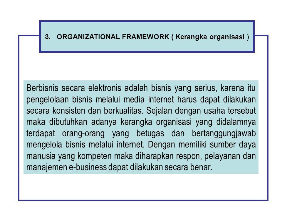 3. ORGANIZATIONAL FRAMEWORK ( Kerangka organisasi ) Berbisnis secara elektronis adalah bisnis yang serius, karena itu pengelolaan bisnis melalui media