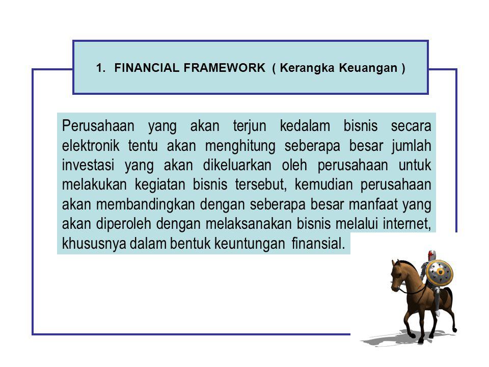 1.FINANCIAL FRAMEWORK ( Kerangka Keuangan ) Perusahaan yang akan terjun kedalam bisnis secara elektronik tentu akan menghitung seberapa besar jumlah i