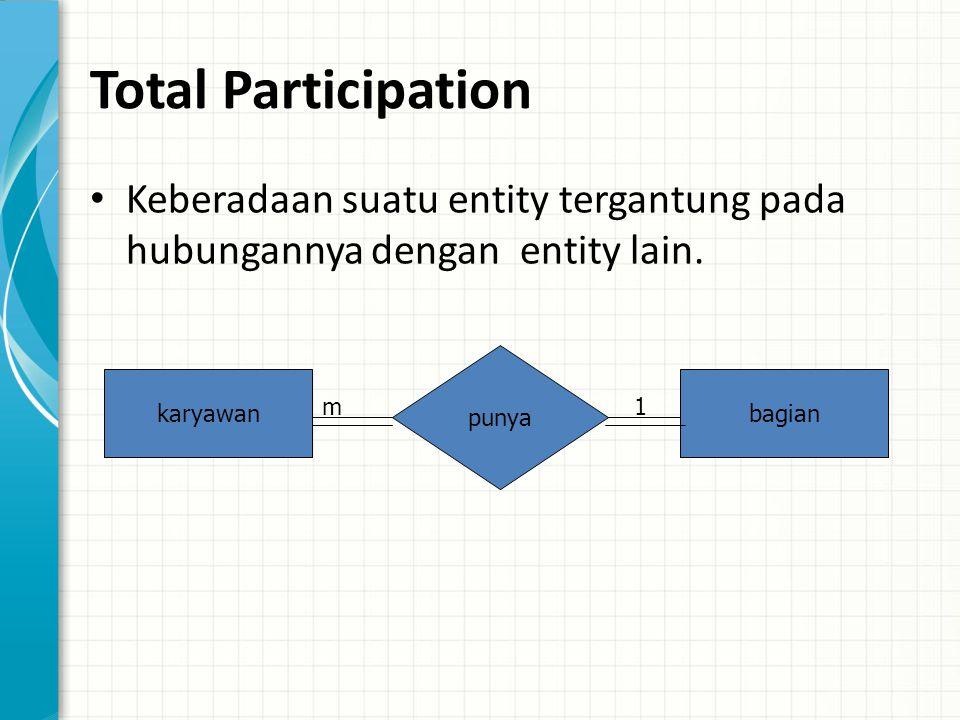 Total Participation Keberadaan suatu entity tergantung pada hubungannya dengan entity lain.