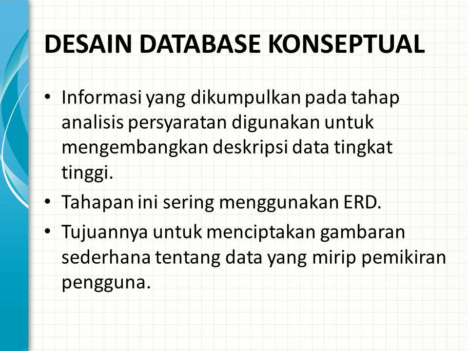 DESAIN DATABASE KONSEPTUAL Informasi yang dikumpulkan pada tahap analisis persyaratan digunakan untuk mengembangkan deskripsi data tingkat tinggi.