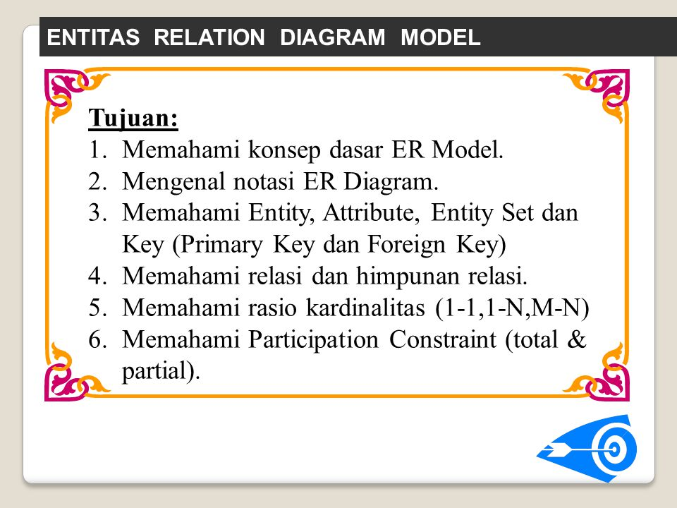 Tujuan: 1.Memahami konsep dasar ER Model. 2.Mengenal notasi ER Diagram. 3.Memahami Entity, Attribute, Entity Set dan Key (Primary Key dan Foreign Key)