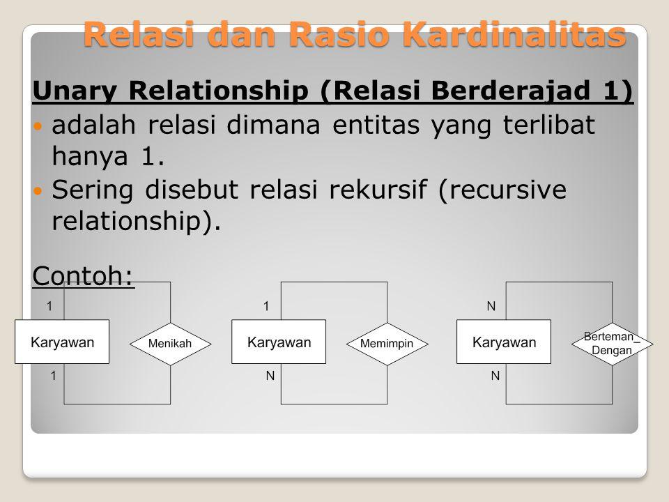 Relasi dan Rasio Kardinalitas Unary Relationship (Relasi Berderajad 1) adalah relasi dimana entitas yang terlibat hanya 1. Sering disebut relasi rekur