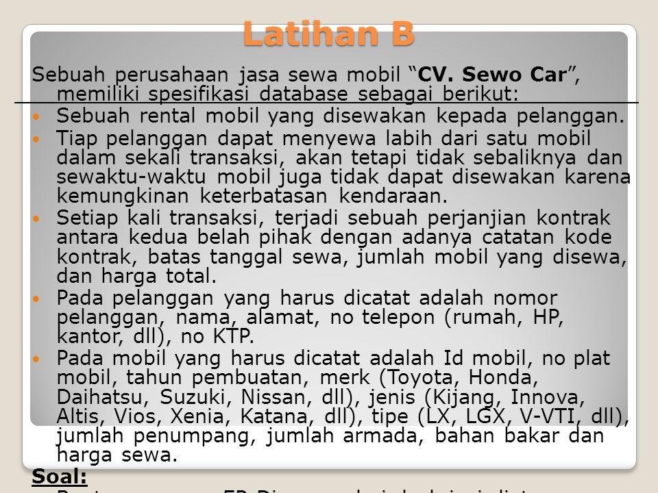 """Latihan B Sebuah perusahaan jasa sewa mobil """"CV. Sewo Car"""", memiliki spesifikasi database sebagai berikut: Sebuah rental mobil yang disewakan kepada p"""