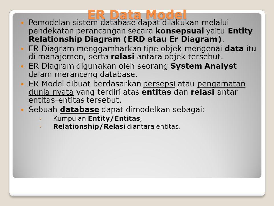 Pemodelan sistem database dapat dilakukan melalui pendekatan perancangan secara konsepsual yaitu Entity Relationship Diagram (ERD atau Er Diagram). ER