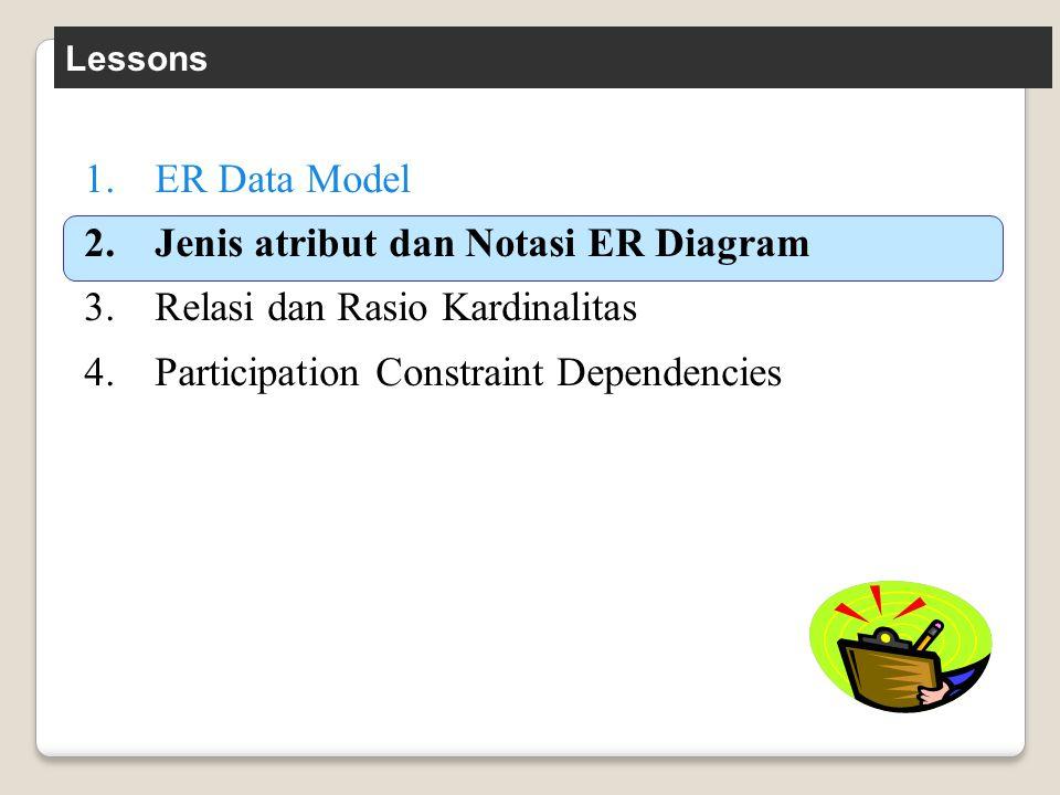 Lessons 1.ER Data Model 2.Jenis atribut dan Notasi ER Diagram 3.Relasi dan Rasio Kardinalitas 4.Participation Constraint Dependencies