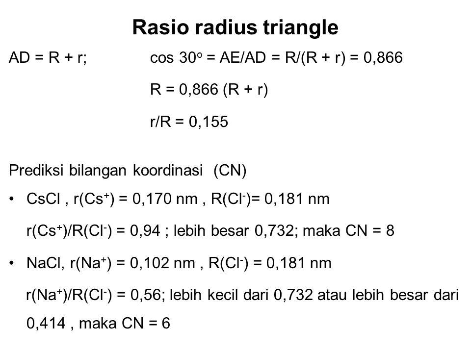 Keramik Struktur Triangle Rasio r/R ≥ 0,155 ; CN = 3 Atom tetangga Atom pusat